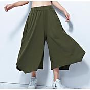 Mujer Casual Tiro Alto Microelástico Corte Ancho Chinos Pantalones,Un Color Verano Otoño
