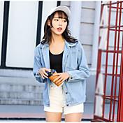 レディース カジュアル/普段着 秋 デニムジャケット,シンプル シャツカラー ソリッド レギュラー コットン 長袖