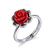 Mujer Anillo de compromiso - Plata de ley Flor Elegante Ajustable Rojo Para Cumpleaños / Regalo