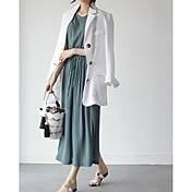 Mujer Vaina Vestido Casual/Diario Un Color Escote Redondo Midi Sin Mangas Algodón Verano Tiro Medio Microelástico Opaco