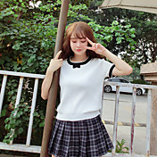 Mujer Regular Pullover Casual/Diario Simple,Bloques Escote Redondo Manga Corta Piel Sintética Otoño Medio Microelástico