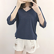 Mujer Simple Casual/Diario Camiseta,Escote en Pico A Rayas Manga 3/4 Algodón