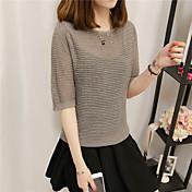 Mujer Regular Pullover Casual/Diario Simple,Un Color Escote Redondo Manga Corta Piel Sintética Otoño Medio Microelástico