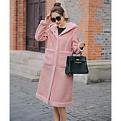 レディース カジュアル/普段着 秋 冬 コート,シンプル フード付き ソリッド ロング その他 合皮 長袖