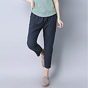 Mujer Sencillo Tiro Medio Microelástico Chinos Pantalones,Pantalones Harén Un Color