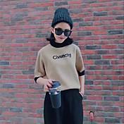 Mujer Regular Pullover Casual/Diario Simple,Estampado Escote Redondo Media Manga Piel Sintética Otoño Medio Microelástico