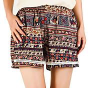 Mujer Casual Tiro Medio Microelástico Perneras anchas Shorts Pantalones,Bloques Verano