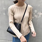 Mujer Regular Pullover Casual/Diario Trabajo Simple,Un Color Escote Redondo Manga Larga Otro Medio Microelástico