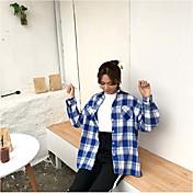 Mujer Activo Casual/Diario Camisa,Escote Chino Cuadrícula Mangas largas Algodón Medio