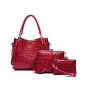 女性 バッグ PU バッグセット 3個の財布セット ジッパー のために イベント/パーティー カジュアル 冬 秋 ブラック ルビーレッド パープル Brown
