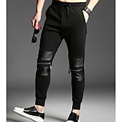 Hombre Simple Tiro Medio Microelástico Chinos Pantalones,Chinos Un Color