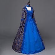 ヴィクトリアン ロココ調 女性用 ワンピース ドレス ブルー コスプレ 長袖 フロア丈
