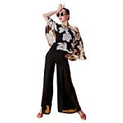 Baile Latino Tops Mujer Actuación Gasa Satén Seda Sintética Diseño / Estampado Manga de longitud 3/4 Tops
