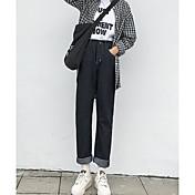レディース シンプル ハイライズ パンツ マイクロエラスティック パンツ パンツ ソリッド