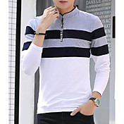 Hombre Chic de Calle Casual/Diario Camiseta,Escote Chino Bloques Manga Larga Algodón