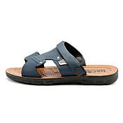 メンズ 靴 PUレザー 夏 コンフォートシューズ サンダル 用途 Brown ダークブラウン ブルー