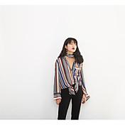 Mujer Chic de Calle Otros Camisa,Cuello Camisero A Rayas Manga Larga Poliéster