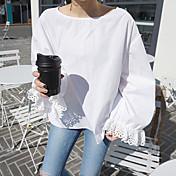 Mujer Bonito Casual/Diario Camisa,Escote Redondo Un Color Manga Larga Algodón