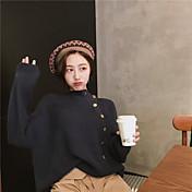 Mujer Un Color Diario Casual Cardigan, Escote Redondo Manga Larga Algodón