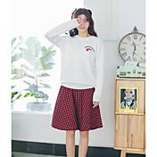 Mujer Regular Pullover Casual/Diario Estampado Escote Redondo Manga Larga Acrílico Medio Microelástico