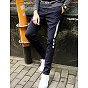 メンズ シンプル ミッドライズ パンツ マイクロエラスティック パンツ パンツ ソリッド ストライプ