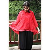 Mujer Tejido Oriental Casual/Diario Primavera Otoño Camisa,Escote Chino Floral Manga 3/4 Algodón Medio