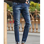 Hombre Simple Tiro Medio Microelástico Vaqueros Pantalones,Vaqueros Un Color