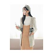 Mujer Regular Chaleco Ropa Cotidiana Simple,Un Color Con Capucha Sin Mangas Algodón Otoño Medio Microelástico
