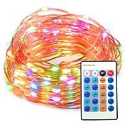 33ft multi color regulable con control remoto impermeable 100 luces de alambre de cobre de cadena para el partido
