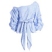 Mujer Bonito Ropa Cotidiana Noche Otoño Camisa,Escote Inclinado A Rayas Manga Larga Algodón Fino
