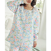 Mujer Traje Pijamas,Floral Algodón Poliéster Azul claro