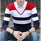 メンズ カジュアル/普段着 シャツ,ストリートファッション シャツカラー ストライプ コットン 長袖