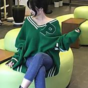 Mujer Regular Pullover Ropa Cotidiana Simple,Bloques Escote en Pico Manga Larga Algodón Otoño Medio Microelástico