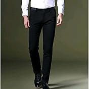 Hombre Casual Tiro Medio Microelástico Chinos Pantalones,Un Color Otoño