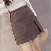Mujer Simple Vintage Sobre la Rodilla Faldas,Falda Línea A