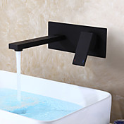 現代風 壁式 セラミックバルブ シングルハンドルつの穴 for  ブラック , バスルームのシンクの蛇口
