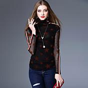 Mujer Vintage Ropa Cotidiana Casual/Diario Primavera/Otoño Otoño Camiseta,Cuello Alto Geométrico Manga Larga Elastán Medio