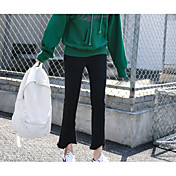 Mujer Vintage Casual Tiro Medio Microelástico Perneras anchas Vaqueros Pantalones,Un Color Algodón Todas las Temporadas