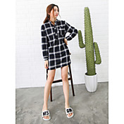 Mujer Camisa Vestido Casual/Diario Cuadrícula Cuello Camisero Sobre la rodilla Manga Larga Algodón Tiro Medio Microelástico Medio