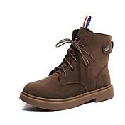 レディース 靴 PUレザー 冬 コンフォートシューズ ブーツ ラウンドトウ 用途 カジュアル ドレスシューズ ブラック カーキ色