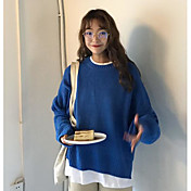 Mujer Regular Pullover Casual/Diario Un Color Escote Redondo Manga Larga Acrílico Medio Microelástico
