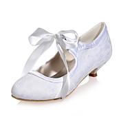 Mujer Zapatos Encaje Primavera Verano Pump Básico Zapatos de boda Tacón Kitten Dedo redondo Corbata de Lazo para Boda Fiesta y Noche