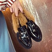 Mujer Zapatos Goma Invierno Confort Oxfords Dedo redondo Para Negro Morrón Oscuro