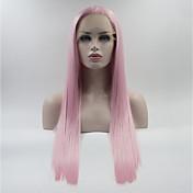 Mujer Peluca Lace Front Sintéticas Medio Largo Rosa Peluca natural Pelucas para Disfraz