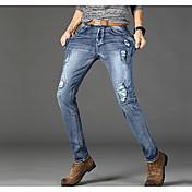 Hombre Casual Tiro Medio Microelástico Vaqueros Chinos Pantalones,Un Color Invierno Otoño