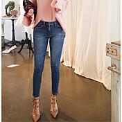 Mujer Casual Tiro Medio Microelástico Vaqueros Pantalones,Un Color Otoño