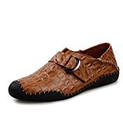 Hombre Zapatos Semicuero Cuero Primavera Otoño Zapatos De Buceo Suelas con luz Confort Zapatos de taco bajo y Slip-On Cinta Adhesiva para