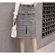 Mujer Uso Diario Trabajo Hasta la Rodilla Faldas,Línea A Invierno Cuadrícula / Plaid Patterns
