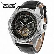 Jaragar Hombre Reloj Casual Reloj de Moda Reloj de Vestir Reloj de Pulsera Cuerda Automática Calendario Piel Banda Casual Cool