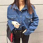 Mujer Chic de Calle Casual/Diario Camisa,Cuello Camisero Un Color Manga Larga Algodón